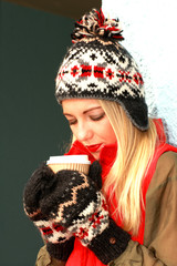 Young Woman Drinking Coffee. Model Released