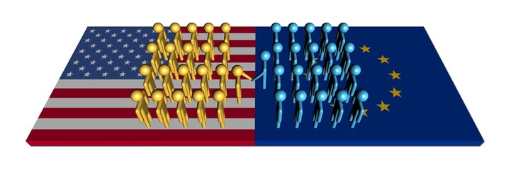 American EU meeting with workforce on flags illustration