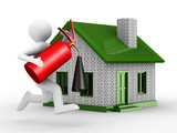 Fire-prevention protection of house. Isolated 3D image poster