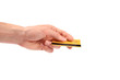 hand gives credit card