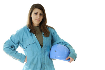 young female worker with coverall and protection helmet