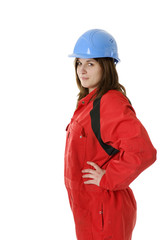 young female worker with protection clothes and helmet