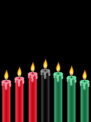 seven kwanzaa candles lightning on the black background