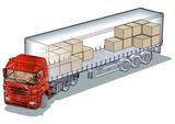 Vector cargo semi-truck infographics cutaway poster