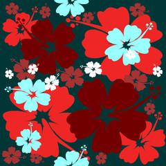 Seamless Hibiscus flower Background