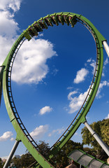 A Roller Coaster Train doing a loop.