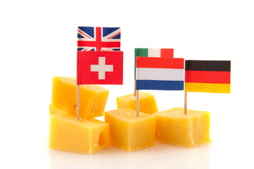 Cheese snack with European flags