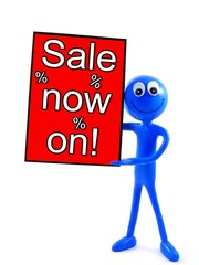 Ben d'Man - Holding a' Sale now on' sign