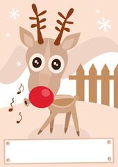 Reindeer holiday winter season vector illustration.