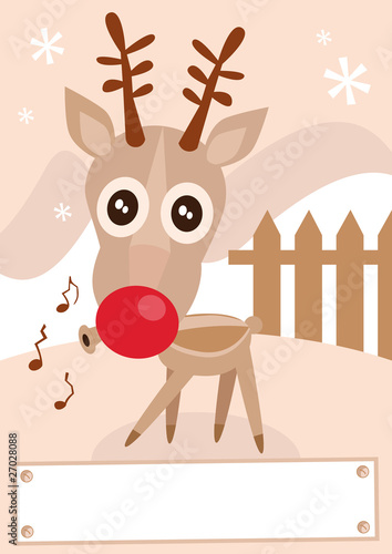Reindeer holiday winter season vector illustration.