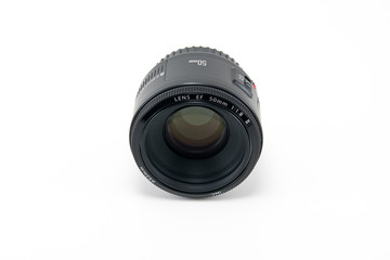A 50mm camera lens isolated on white.