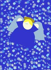 Angelo trionfante nella neve