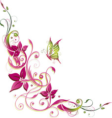 Blumen, Blüten, Ranke, flora, filigran, grün, pink
