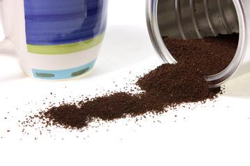 coffe and mug isolated on white background