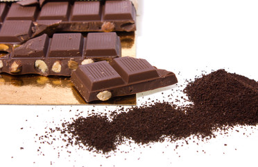 milk chocolate with almond and coffee on white background