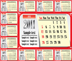 12 pages us style calendar