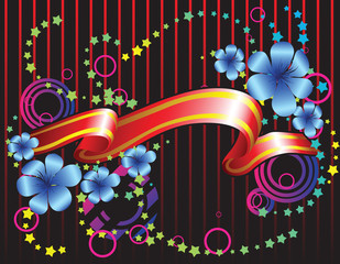 abstract background with ribbon and fantastic flowers