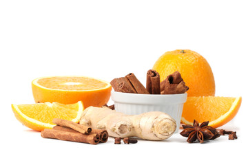 Oranges and spices. Ingredients for a winter hot drink.