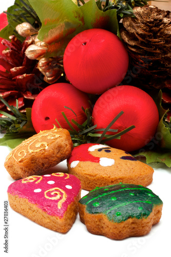 Christmas wreath and cookies
