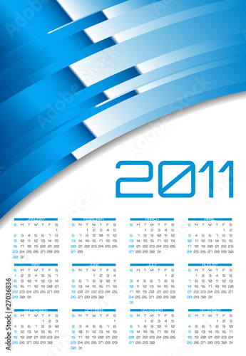 Vector abstract calendar, design template for 2011