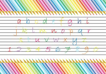 Alfabeto e matite colorate