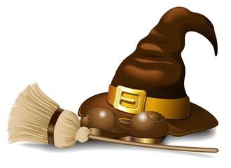 Cappello di Strega e Scopa-Witch Hat with Broom-Vector