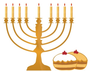 Hanukkah Symbols Illustration