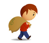 Man carries a bag of money on the shoulder