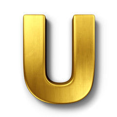 The letter U in gold