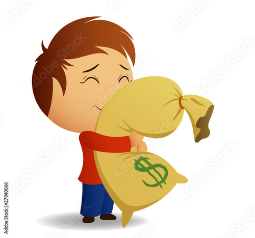 Men in red shirt hug the bag with money.