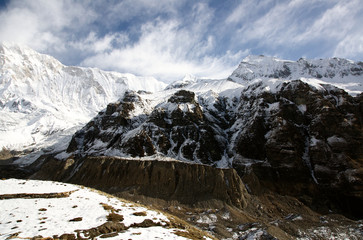 A view of Annapurna Sancutry on the popular trek in Nepal.