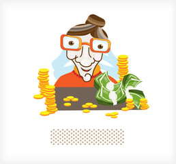 Accountant with money and coins A