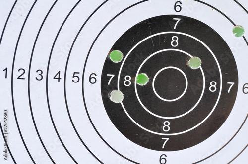 Zielscheibe mit Einschüssen