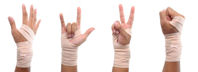 4 hand sign with elastic bandage