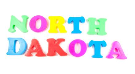north dakota written in fridge magnets