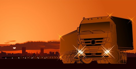 Vector semi-truck at sunset