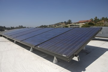 Solar array on rooftop in Los Angeles, California