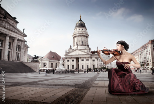 Fototapeta kobieta - skrzypce - Kobieta