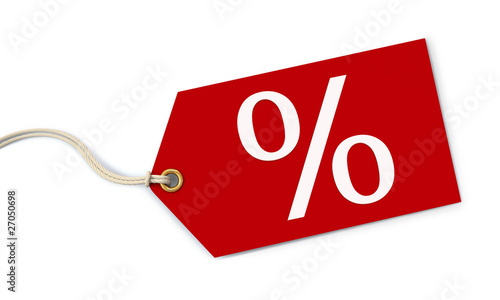 Red percent tag on white background