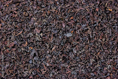 Detailed Black Tea Leaf Texture, Horizontal Background