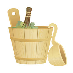 Wooden washtub with spoon and birch