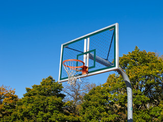 Basketball Net againsy bright blue sky