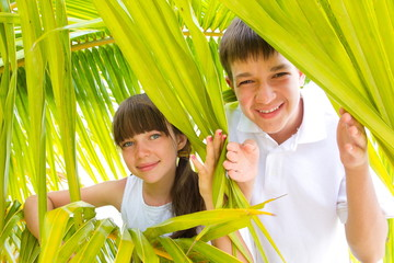 Children in palm branches