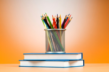Back to school concept with books and pencils