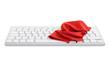 Computertastatur mit roten Putztuch