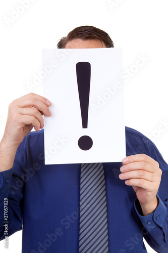 geek is holding exclamation mark over white background