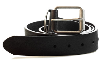 Black leather belt on a white background