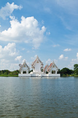 Thai style castle in the middle of pond