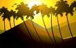 Coconut tree in a sunrise and hill behind