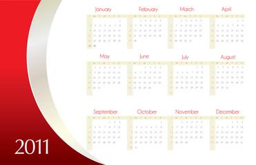 Red calendar for 2011